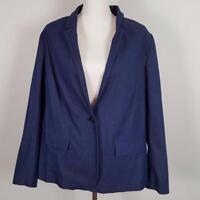 Lane Bryant Blue One Button Cotton Stretch Jacket Womens sz 20 Blazer NWT $79.95