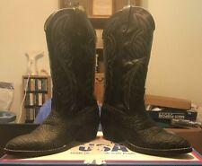 Vintage Bronco Western Cowboy Boots Black Lizard Skin Man-Made Material 9EE