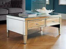 Birlea Valencia Mirrored 2 Drawer Coffee Table Bevelled Glass Modern DESIGNER