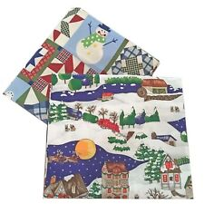 Christmas Winter Fabric 2 Designs 2 yd & 1 yd Snowman Stockings Trees Santa Cats