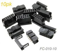 10-Pack 10-Pin Female IDC 2.54mm Pitch Connectors for Flat Ribbon Cable