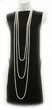 New Vintage 1920's Style Long Charleston Flapper  Necklace Faux Pearl Beads