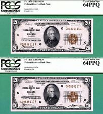 TWO CONSECUTIVE 1929 $20 FRBN's - BOTH PCGS CU 64 with PPQ - Fr 1870-G CHICAGO