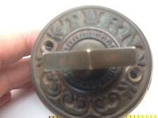 Vintage Victorian TURN Key BRASS DOOR BELL Gear Drive Ornate Plate Ringer Works