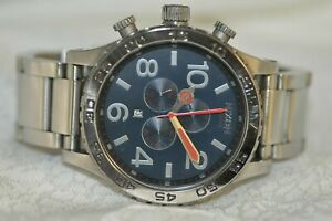 Mens Nixon 51-30 Chrono Lefty Grey Dial Stainless Steel Bracelet Watch