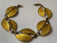 Vt MEKA Denmark Sterling Silver & Yellow Guilloche Enamel Double Leaf Bracelet