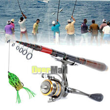 Pro Carbon Fiber Telescopic Fishing Rod Travel Spinning Rod Pole + Fishing Lure
