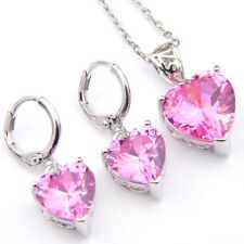 Wedding Jewelry Set 2 Pcs 1 Lot Lovely Pink Topaz Gems Silver Pendant Earrings