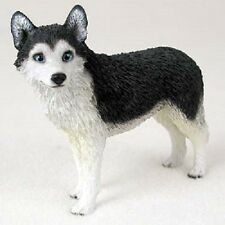Siberian Husky Dog Figurine Black White blue eye puppy Hand Painted Collectible