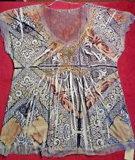 Women's XL Stretch Shirt Blouse Brown Gold Rhinestone Sheer Cute Romantic