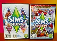 Sims 3 Seasons + Deluxe - Windows PC Game Expansion Pack w/ Key on Manual Tested