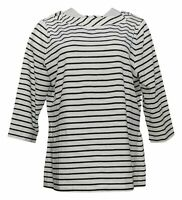 Denim & Co. Women's Top Sz L Essentials Striped Jersey Boatneck White A389658