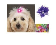 Aria Feather Dog Bows - 5 pieces of mix Colors - Feather Dog Bows 5 mix feathers