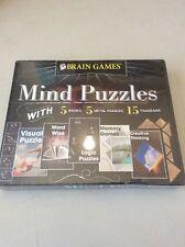 Brain Games© Mind Puzzles Box Set 5 Books/5 Metal Puzzles/15 Tangrams FREE SHIP!