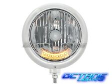 "7"" Classic Stainless Steel Hot Rod Headlight w/ 6 Amber Auxiliary Hi/Low LEDs"