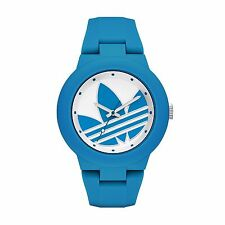 NEW ADIDAS ABERDEEN,BLUE+WHITE TONE,BLUE SILICONE BAND,LOGO DIAL WATCH ADH3118