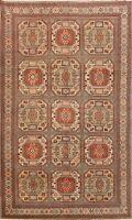 Vintage Anatolian Geometric Turkish Area Rug Hand-knotted Home Decor Carpet 6x9