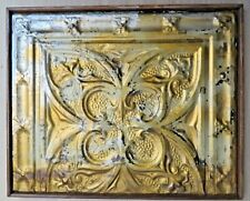 ANTIQUE Ceiling TIN TILE panel lately reused WOOD FRAME shabby chic DECOR