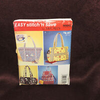 McCall's Easy Stitch 'n Save Pattern M 9045 Misses' Handbags Uncut