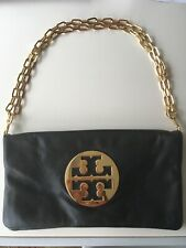 Tory Burch black clutch Bag with heavy gold shoulder chain