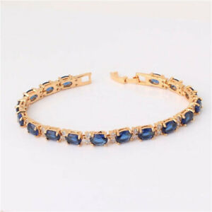 Fashion Woman Exquisite Blue Oval Zircon Rose Gold Bracelet Jewelry Gift