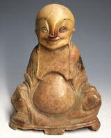 20th C. Shou Shan Stone Carved Statue Shoushan Buddha Buddai Man Chinese