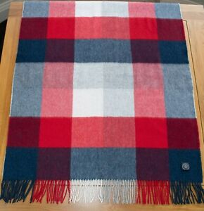 Morgan & Oates Red White & Blue Checked 100% Lambswool Stole Scarf BNWT 200x70cm