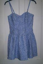 Damas Azul y Blanco Floral Baile de graduación Vestido Patinador de Samantha Faires Talla 10 Nuevo