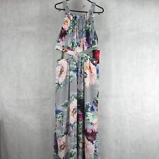 New! Stunning! Little Mistress Grey Floral Maxi Dress Size 16 Stylish Fashion