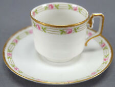 Porcelaine Limoges Pink Rose & Clouded Gold Demitasse Cup & Saucer 1905 - 1939