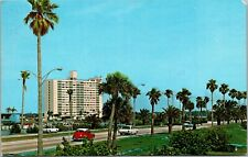 Old Postcard Clearwater Causeway Beach Horizon House Apts Old Cars FL 1970s D2