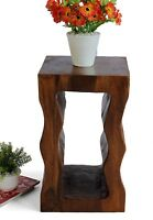 Large Vertical Cube Wave stool lamp stand side end table hand carved Acacia