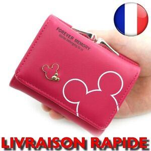 Portefeuille Minnie Cuir Femme Mickey Porte monnaie Loquet Solide Carte DISNEY