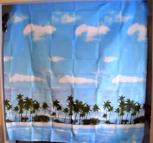 PALM TREES BEACH OCEAN CLOUDS FABRIC SHOWER CURTAIN AMESBURY TROPICAL NEW
