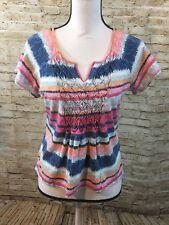 CARIBBEAN JOE PETITE MEDIUM Knit top tee short sleeve MULTI COLORED Shirt A398