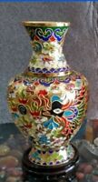 Collecting Chinese cloisonne carved dragons and phoenixes vase NR
