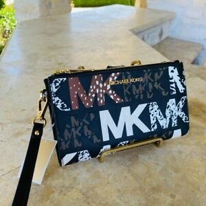 Michael kors Graphic Logo signature Large double zip wallet/wristlet Gift NWT