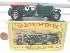 "Matchbox 1968 Yesteryear Y5 Green 1929 4.5 Litre Bentley #3 Decals ""D"" BasePlate"