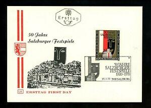 Postal History Austria FDC #878 Salzburg music art festival 1970