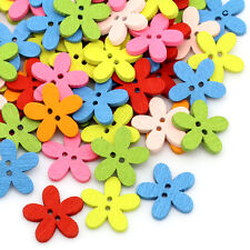 200PCs Wood Buttons Sewing Scrapbooking Flowers Shaped 2 Holes Mixed
