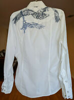 3J Workshop Johnny Was Embroidered Button Down Shirt Blouse Raptor Medium