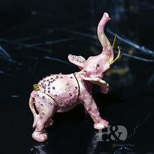 Handmade Crystal Metal Elephant Trinket Boxes Figurines Jewelry Wedding Decor