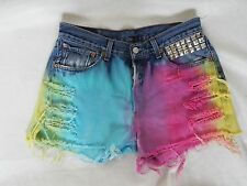 LEVI VINTAGE HIGH WAISTED DENIM SHORTS SIZE 12 OMBRE DIP DYE FRAYED 501 FESTIVAL
