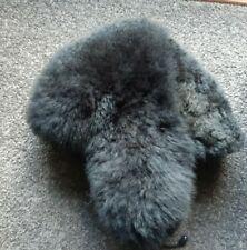 Unisex Alpaca Fur Hat Black / Charcoal Color with Ear Flaps 24 in / 60 cm XL