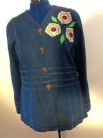 Denim Jean Jacket Coat Women Button Down Long Sleeve Flower Pleated V Neck Large