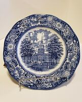 Vintage Staffordshire Ironstone Liberty Blue Independence Hall Dinner Plate