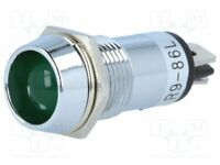 Spia Luminosa: LED Concavo 12VDC Öffng : Ø14 , 2mm IP40 Ottone R9-86L-01-12GREEN