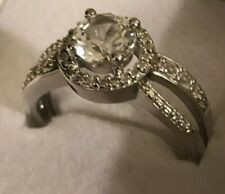 .925 Sterling Silver & Cubic Ziconia Ring Sz 7
