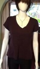 Maroon Cotton Blend Short Sleeve T Shirt Style V Neck Top From Mexx XL