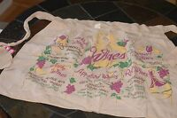 Print Printed Half Apron - by Colonial Aprons - Wine Theme - NOS with Tags